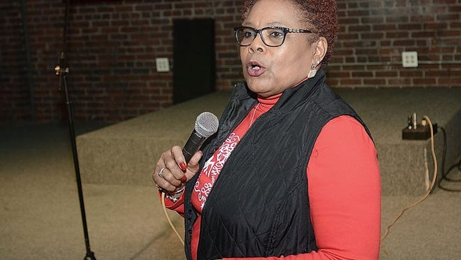 Councilperson Sheila Cherry talks at an open meeting at Jupiter Studios on Tuesday, Dec. 19, 2017.