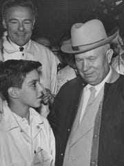 "An 11-year-old Harry Bookey tells Khrushchev that although the Russians may have beaten the United States to the moon, ""We can beat you in sausages."""