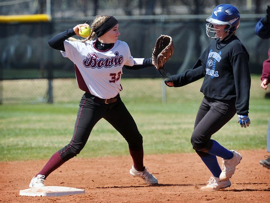 Bowie's Taylor McCarty, (33) tags second base as City