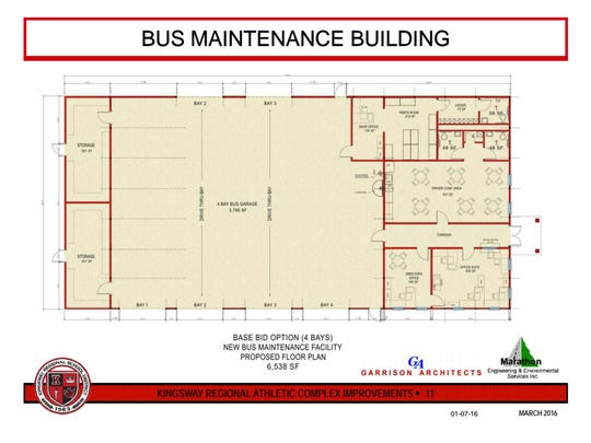 The plans show Kingsway Regional School District's proposed new bus garage. A referendum will be held March 8.