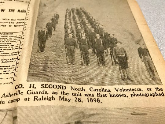 The Citizen Times published a special section in 1948 to commemorate the 50th anniversary of the Spanish-American War of 1898. More than 300 men from the Asheville area volunteered for service. This photo shows troops in Raleigh.