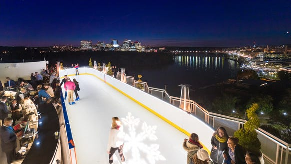 The Watergate Hotel now has a rooftop ice skating rink.