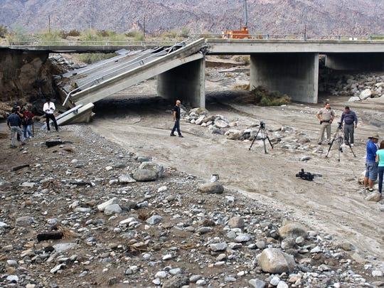 The Tex Wash Bridge on Interstate 10 collapsed on Sunday afternoon. I-10 is now closed indefinitely in the area in both directions, forcing drivers between Palm Springs and Phoenix to find alternate routes.