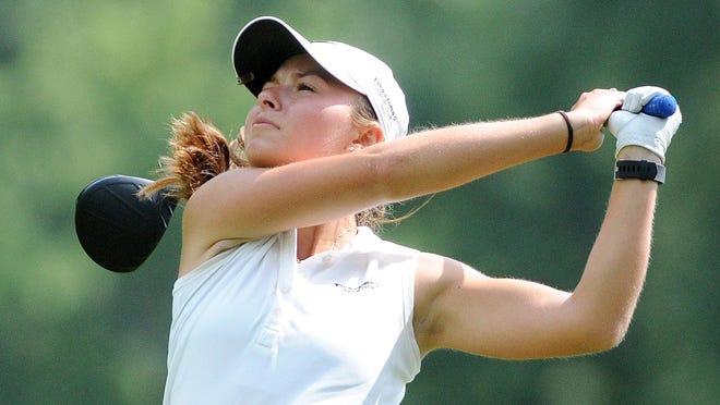 Lauren Dauk hits a drive during the 2017 Schorsten Memorial Junior Golf Tournament. She won at the overall girls title that year.
