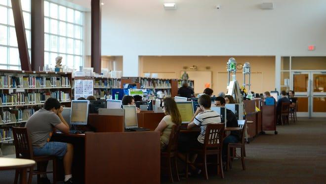 High school students take standardized tests.