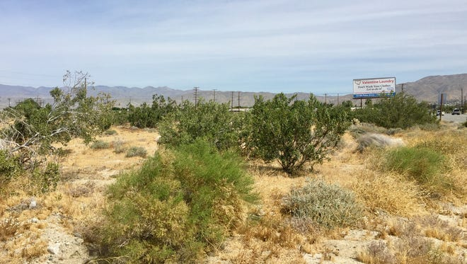 The location of a proposed Walmart in Desert Hot Springs, between Clair Avenue and Camino Aventura on Palm Drive, sits vacant.