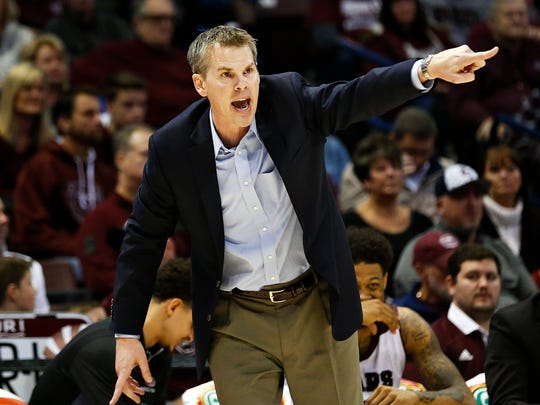 Missouri State Bears head coach Paul Lusk directs his charges during second half action of the Missouri Valley Conference college basketball game between the Missouri State Bears and the Wichita State Shockers at JQH Arena in Springfield, Mo. on Feb. 25, 2017. The Wichita State Shockers won the game 86-67.