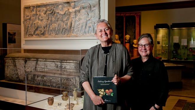 Cheryl Baker, right, and Jane Hickman, two people involved in creating a Culinary Expeditions cookbook with the University of Pennsylvania Museum of Archaeology and Anthropology, pose for a portrait, Wednesday, April 30, 2014 in Philadelphia.