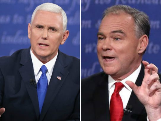Mike Pence, left, Tim Kaine, right.