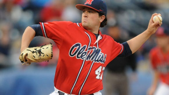 Mississippi's Christian Trent pitches against LSU on Friday. He got the win against his former team.