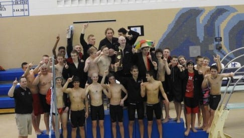 The Marshall High School boys swimming and diving team.