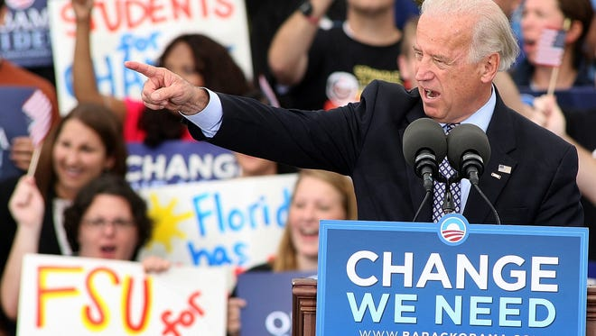 Then-Sen. Joe Biden makes an appearance in Tallahassee during the 2008 presidential campaign.