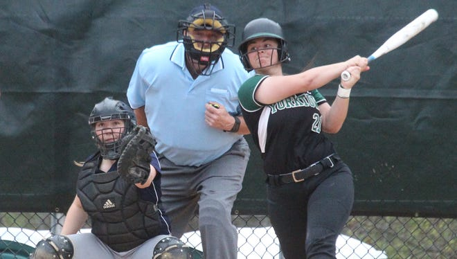 Yorktown's Brittany Giordano gets a hit during a game with Ketcham at Yorktown April 24, 2017. Yorktown won 8-6.