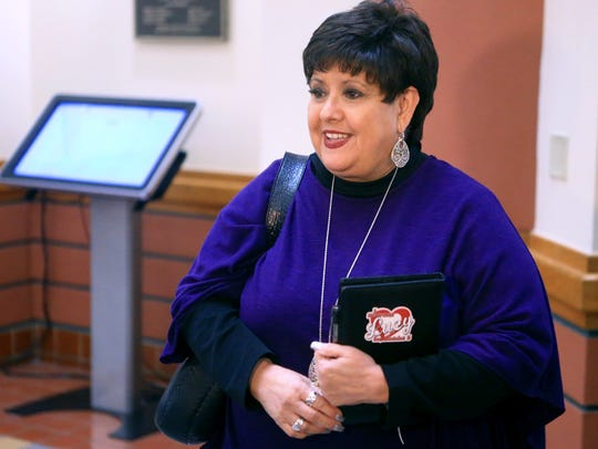 Council Member, District 3 Lucy Rubio talks to the