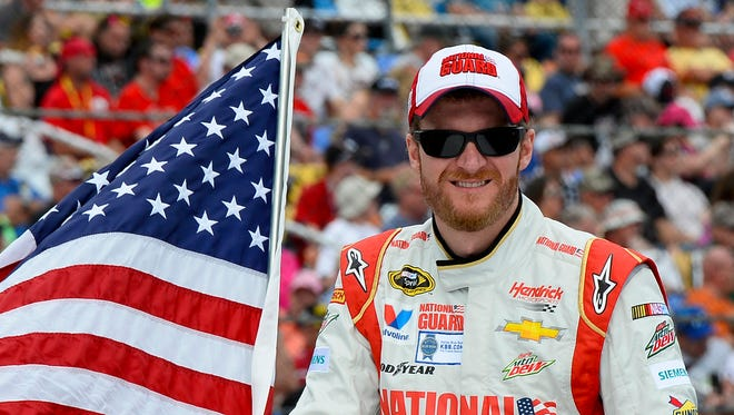 Dale Earnhardt Jr., shown here during driver introductions at the Daytona 500, won that race and also has won at Pocono Raceway.