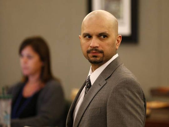 Michael Rudolph Rodriguez appears in court Tuesday, Sept. 22, 2015, in Las Vegas.