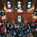 Supporters of public education rally on the Great Western Staircase at the Capitol last week. Lawmakers and Gov. Andrew Cuomo are heading toward the state-budget deadline nears, amid what has been frantic negotiations over education and other key issues.