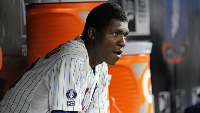 The Mets' Rafael Montero looks on from the dugout after leaving the game during the sixth inning against the Washington Nationals, on Tuesday, at Citi Field.