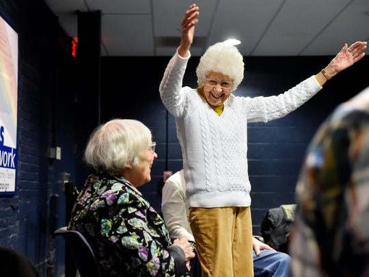 Beth Johnson of York and Dolores Quickel, 94 of West Manchester Township, perform an improvisational skit based on basic actions during a StAGEs creative performing workshop for seniors Thursday, April 7, 2016, at DreamWrights Youth & Family Theatre in York. Improvisational techniques and participants' life experiences are incorporated to create theatrical pieces in the workshop, which meets twice a week for six weeks and is in its second season.