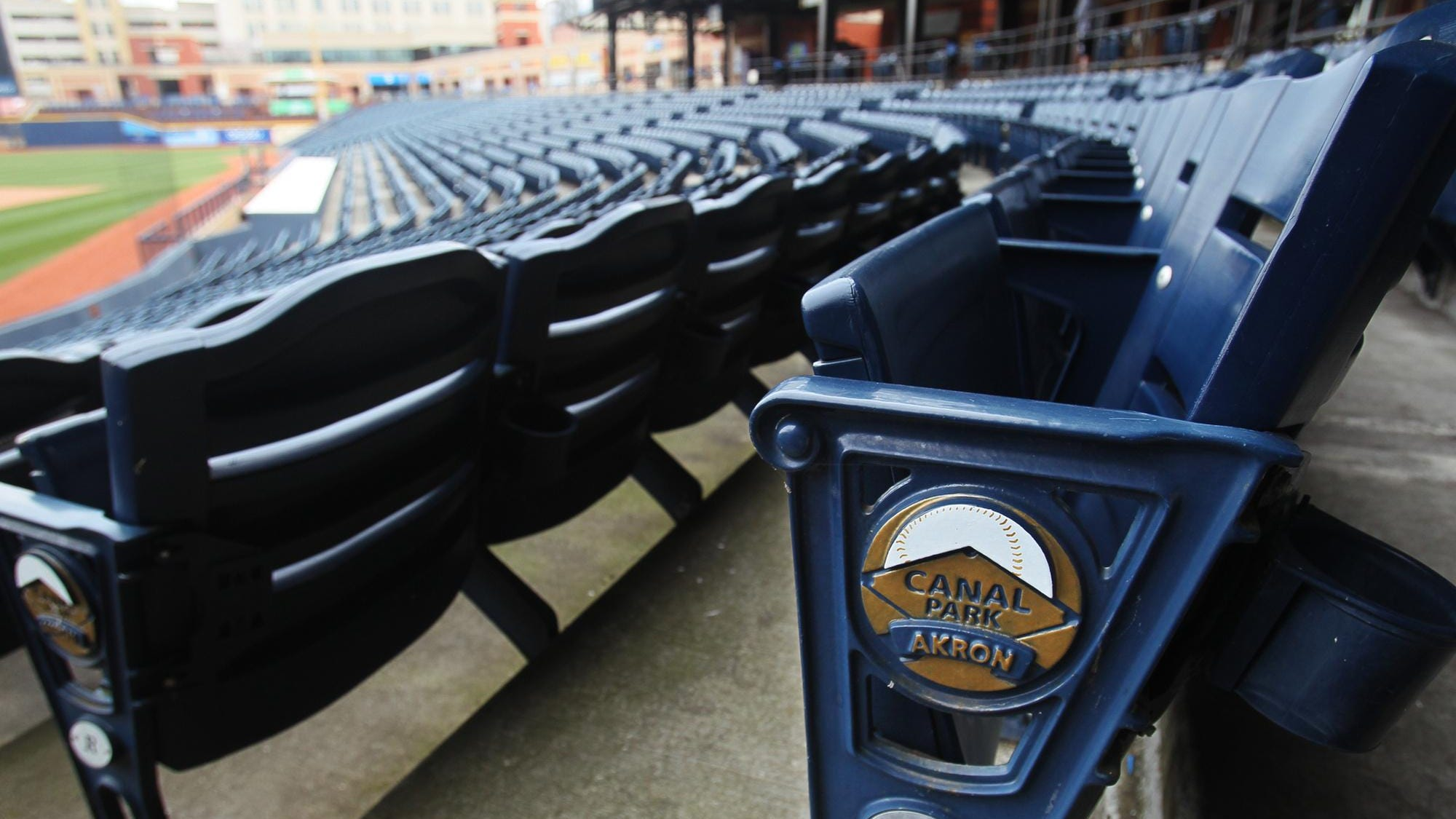 Seats are ready for fans to cheer on the Akron RubberDucks at Canal Park.