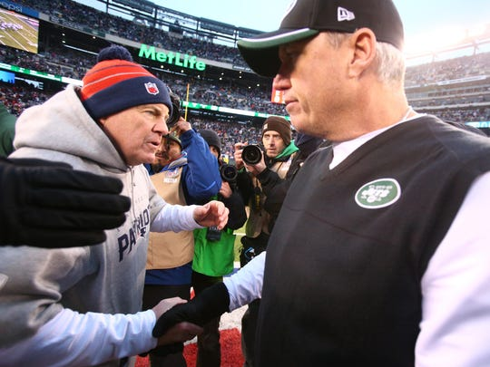 "Rex Ryan, at rigjh, on Patriots coach Bill Belichick:  ""I admire Belichick for the way he is and the way he controls that organization. It's clearly driven through him. ... For him to be somebody else, for him to come out and be like somebody else would be a mistake. Same thing for me. This is who I am. It's different or whatever, and I get it. I don't have the four Super Bowl rings, but neither does anybody else."""
