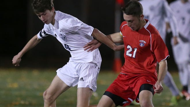 Fairport's Pete Critchlow, right, leads the Red Raiders with 12 goals and also has three assists. Fairport has won nine straight matches since an Aug. 31 loss to Rush-Henrietta, a setback it avenged last week with a 4-1 behind two goals from Critchlow and two from Diego Zavala.