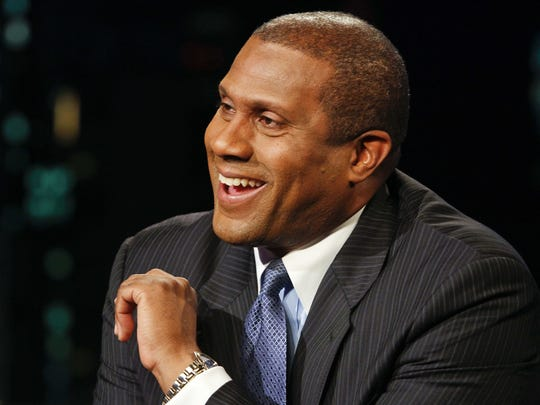 PBS interviewer Tavis Smiley is shown during his Tavis Smiley show in the studios of KCET, November 17, 2010.