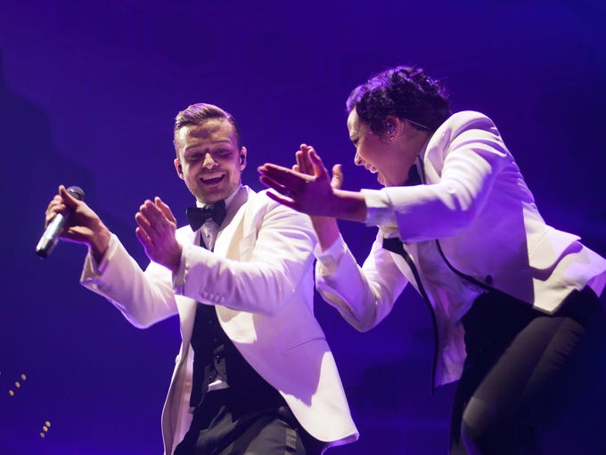 Justin Timberlake performs a sold out show at the KFC Yum! Center. Dec., 15, 2013