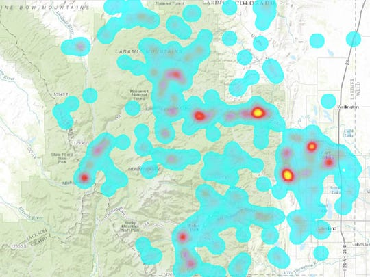 Red blotches in this heat map of Larimer County Search and Rescue call locations denote Grey Rock and Horsetooth Mountain.
