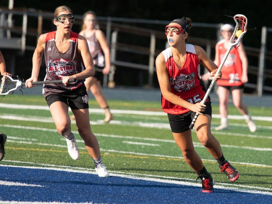 South's Sabrina Chandler (15) controls the ball.North's