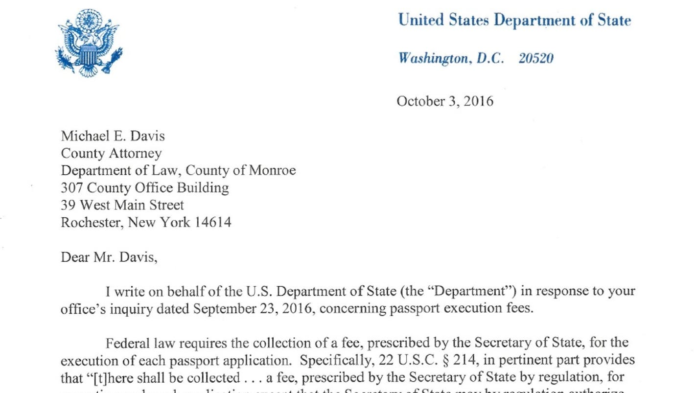 update u s county passport fee waivers illegal
