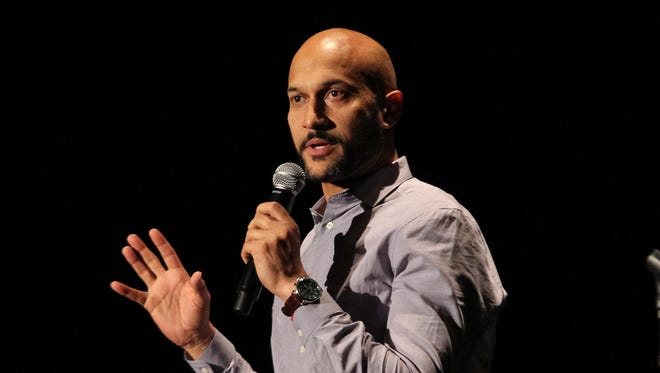 Comedian Keegan-Michael Key speaks to guests during his appearance with The 313 improv troupe at the Detroit Film Theatre in the DIA on Thursday, Dec. 22, 2016.