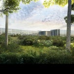 Rendering of LG's new headquarters. The building was originally proposed to be 143-foot-tall but was lowered to 69 feet.