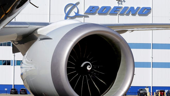 An engine and part of a wing from the 100th 787 Dreamliner to be built at Boeing of South Carolina's North Charleston, S.C., facility.