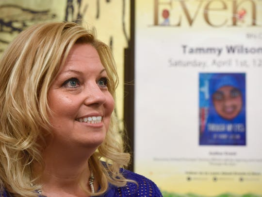 """Author Tammy Wilson talks about her book, """"Through My Eyes,"""" during an event in April 2017 at Barnes and Noble in St. Cloud."""