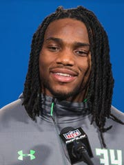 Notre Dame linebacker Jaylon Smith speaks to the media during the 2016 NFL Scouting Combine at Lucas Oil Stadium.