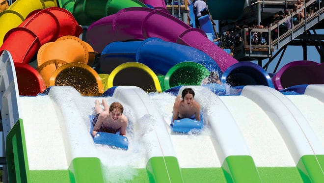 Darien Lake Theme Park has a new ride for the 2016 season called the RipCurl Racer. The six-lane water slide is 42 feet high with a slide length of 294 feet.