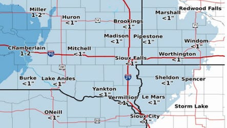 Predicted snowfall amounts for southeastern South Dakota on Saturday.