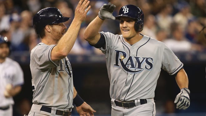 Mikie Mahtook, a right-handed hitter who can play all three outfield positions but seems most comfortable in center, played parts of the last two seasons with the Rays, hitting .231 with 12 home runs and 30 RBIs in 106 games.