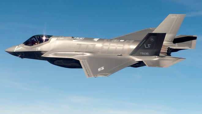 The F-35 in flight.