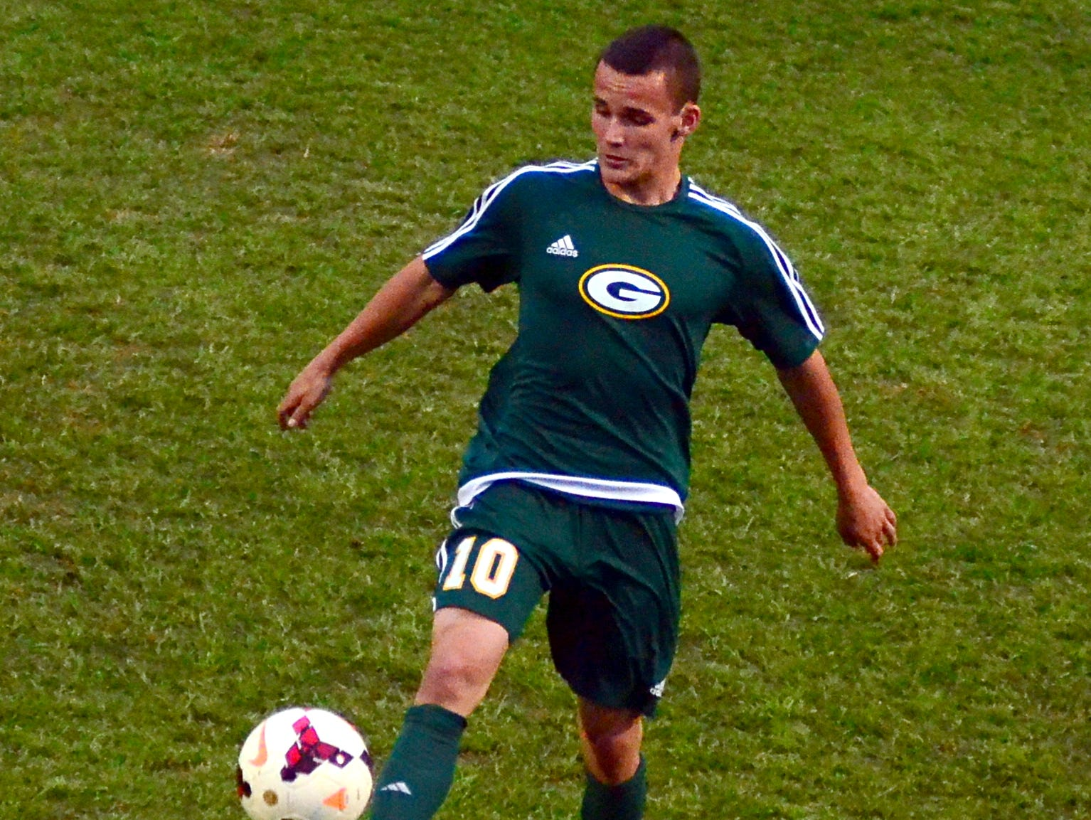 Gallatin High senior Cameron Martin gains possession during the first half of Friday evening's 2-0 loss at Station Camp.