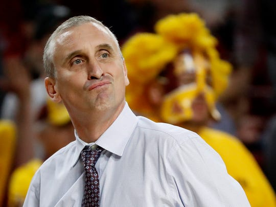 FILE - In this March 3, 2018, file photo, Arizona State head coach Bobby Hurley reacts to a call during the first half of an NCAA college basketball game against Stanford, in Tempe, Ariz. Hurley isn't intimidated by the NCAA Tournament, of course, but the former Duke star usually doesn't have to prove he belongs here. Hurley, the explosive point guard who led the Blue Devils to back-to-back national championships in 1991-92, is the third-year coach of Arizona State, which plays Syracuse on Wednesday night in a First Four play-in game.(AP Photo/Matt York)