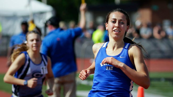 Cami Davre of Whitefish Bay, continues her dominance at the state meet, winning the 3,200 meters.
