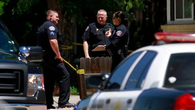 Farmington police investigate a shooting on Wednesday at a home on Camino Rio in Farmington,