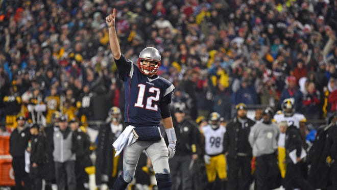Jan 22, 2017: New England Patriots quarterback Tom Brady (12) celebrates after a touchdown during the third quarter against the Pittsburgh Steelers in the 2017 AFC Championship Game at Gillette Stadium.