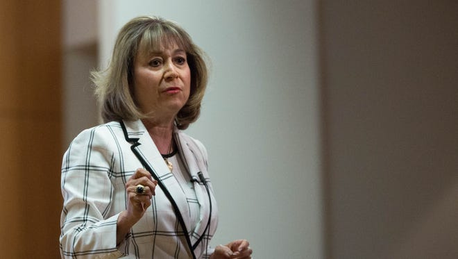 Barbara Damron, one of the candidates for New Mexico State University chancellor, speaks during a open forum at Corbett Center, Friday May 4, 2018.