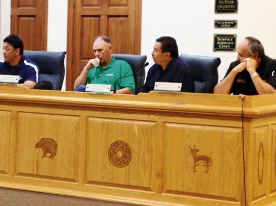 Grant County department heads Randy Villa, general services department, from left, Earl Moore, road manager, Anthony Gutierrez, planning director, and Michael Carillo, detention center administrator, give their reports to the County Commissioners on Tuesday.