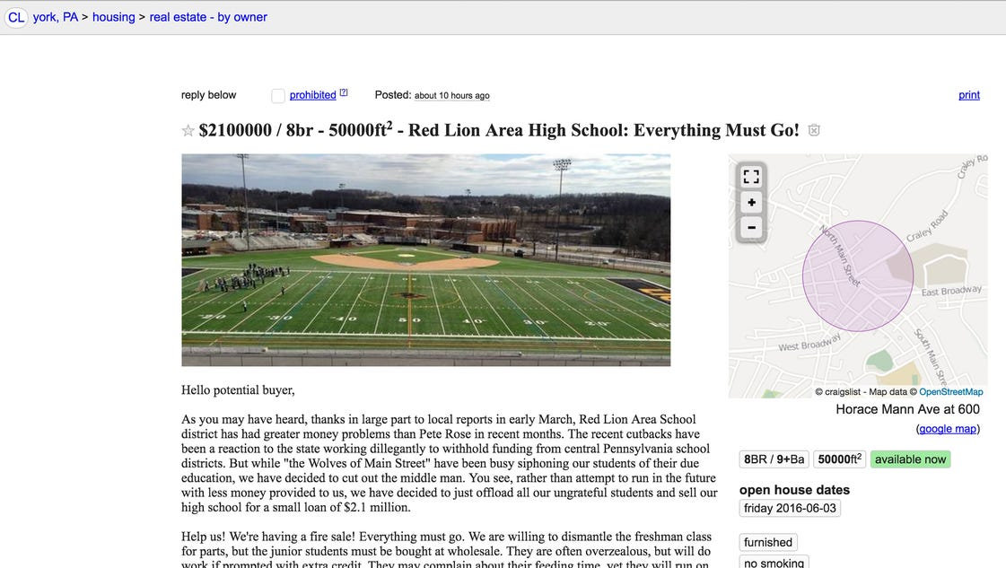 red lion high school for sale cheap too