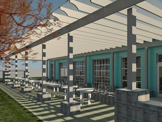 A rendering of planned outdoor space at the new location