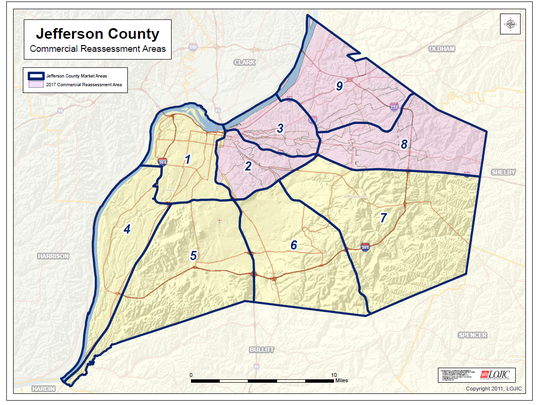 This map shows where the Jefferson County PVA has reassessed commercial property.